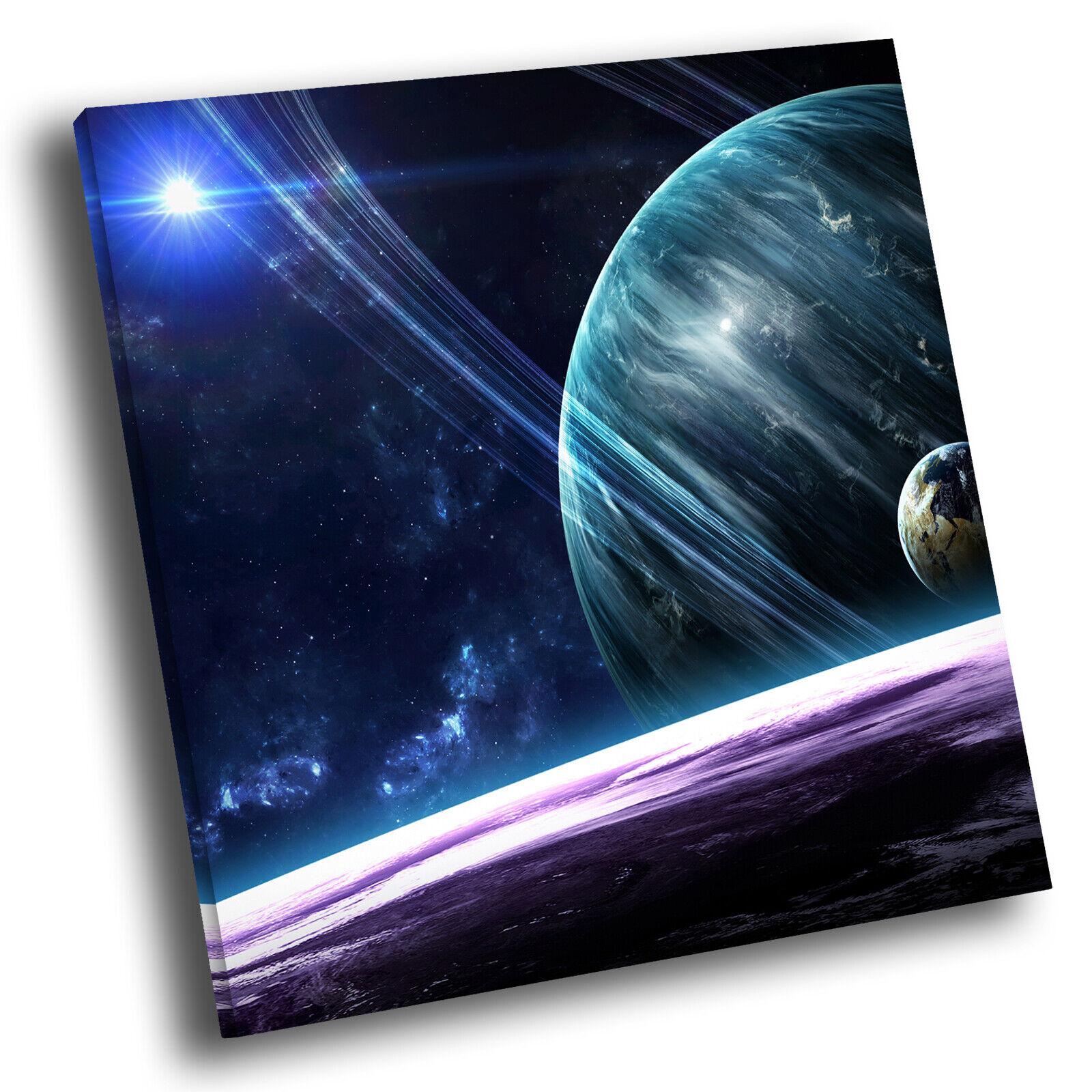 Blau lila Stars Planet Square Scenic Canvas Wall Art Large Picture Print
