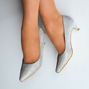 7c8cadbb760b Womens Silver Diamante Low Kitten Heel Pointed Toe Shoes Court Heels ...