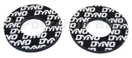 Dyno old school BMX bicycle grip foam donuts WHITE on BLACK LICENSED