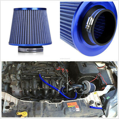 "BLUE UNIVERSAL 3/"" MUSHROOM SHAPE AIR FILTER FOR FORD SHORT//COLD AIR INTAKE KIT"