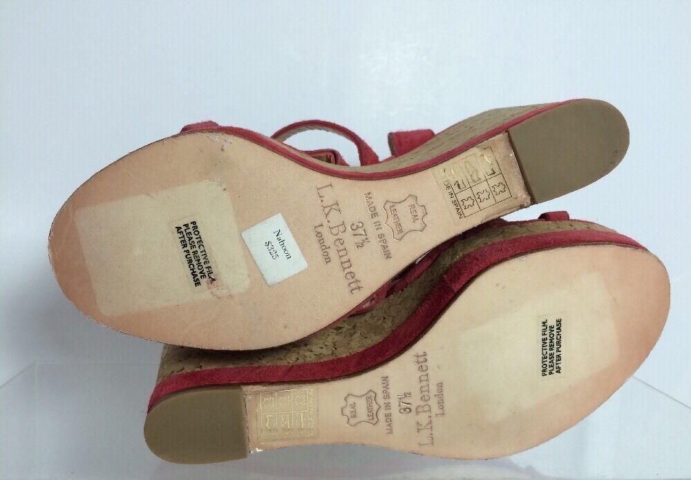 LK Bennett Bennett Bennett Womens Magenta Leather Wedges 37.5 2c148f