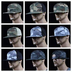 Mens-Baseball-Cap-Snap-back-Plain-Military-Army-Camouflage-Hunting-Hip-Hop-Hat