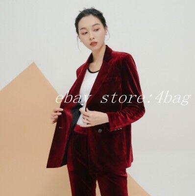 KF/_ Women Fashion Office Suit OL No Button Lapel Slim Fit Blazer Jackets Coat