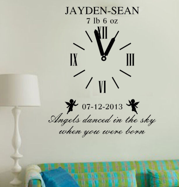 Personalized Kids Birth Date DIY Vinyl Wall Art Clock With Weight Sticker  sc 1 st  eBay & Personalized Kids Birth Date DIY Vinyl Wall Art Clock With Weight ...