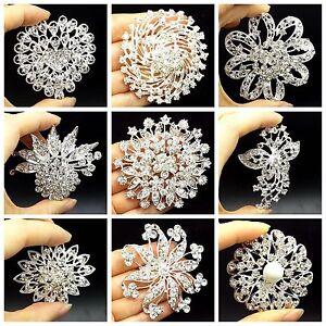 Wholesale-Big-Silver-Rhinestone-Crystal-Brooches-Pin-DIY-Wedding-Bridal-Bouquet