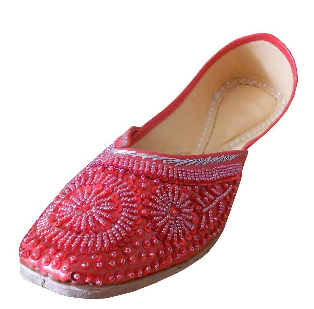 Women shoes Indian Handmade Traditional Oxfords Red Jutties UK 1.5-9.5 EU 34-44