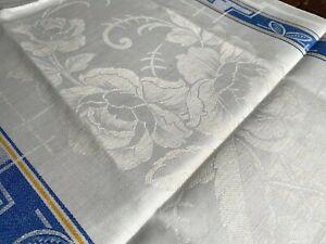 Rosen Leinen Damast Handtuch Art Deco Webkante um 1925,Antique LinenTowel