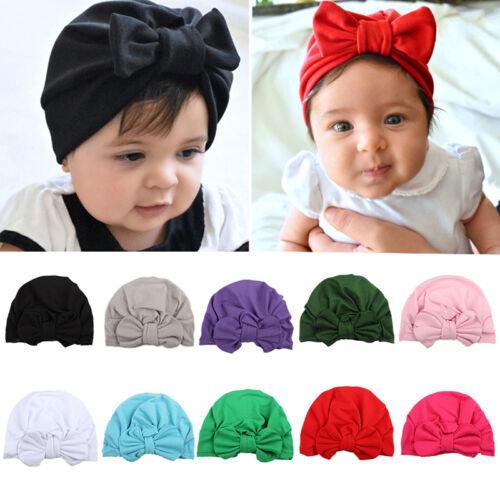 Toddler Newborn Kids Baby Boys Girls Infants Cotton Soft Warm Bow Hat Beanie Cap
