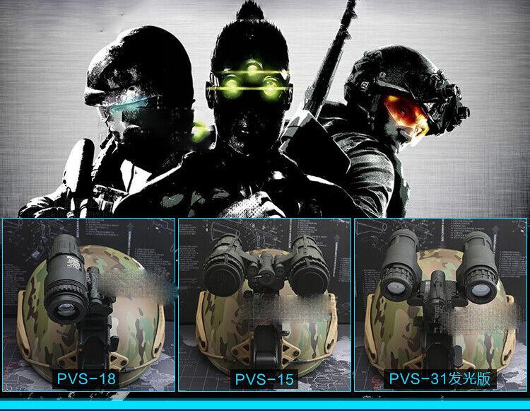 Casco de metal Tactical montaje PVS15 18 31 NVG Visión Nocturna + Goggle Modelo Set