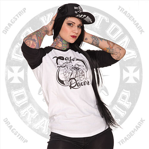 Dragstrip abbigliamento CAFE RACER Lucky 13 Rock Hot Rod Tatuaggio Biker Baseball Top