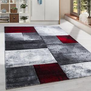 Moderner-Design-Konturschnitt-Kurzflor-Teppich-Patchwork-Wohnzim-Red-Meliert