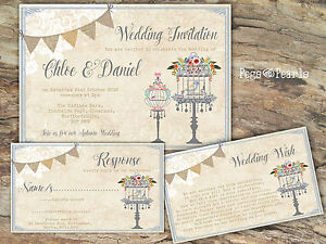 PERSONALISED-RUSTIC-BUNTING-amp-LACE-BLUE-BIRDCAGE-WEDDING-INVITATIONS-PACKS-OF-10