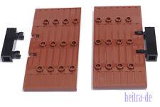 LEGO - 2 x Burgtür Tür 1x5x8 1/2 braun mit Scharniersteinen / 87601 NEUWARE (a22