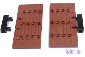 LEGO-2-x-Burgtuer-Tuer-1x5x8-1-2-braun-mit-Scharniersteinen-87601-NEUWARE