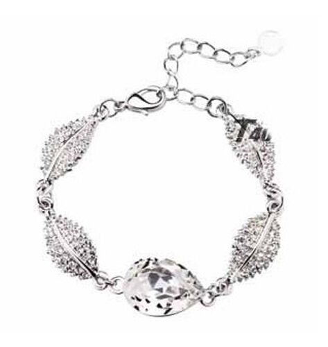Wedding Collection Jewellery Silver /& White Austrian Crystal Leaf Bracelet BB32