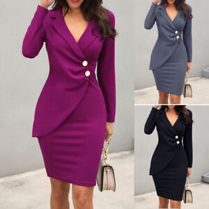 Women-Elegant-Work-Business-Office-Lady-Formal-Party-Bodycon-Pencil-Blazer-Dress