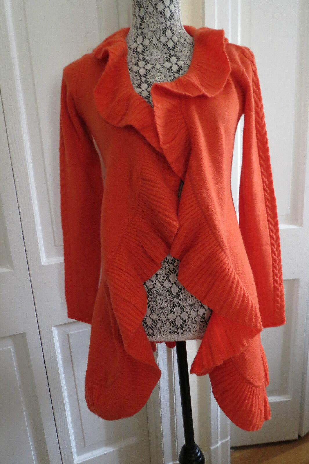 Kier + J Cashmere-Blend orange Ruffled Open Open Open Cardigan - Small NWT -  325 a8d657