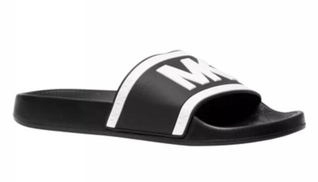 New Michael Kors Cate Pvc Black stripes optic White Slip On Slides Sandals Shoes