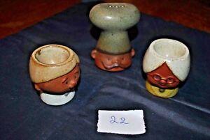 2 Coquetiers + Salière - Egg Cup - En Céramique Anthropomorphe - Personnages