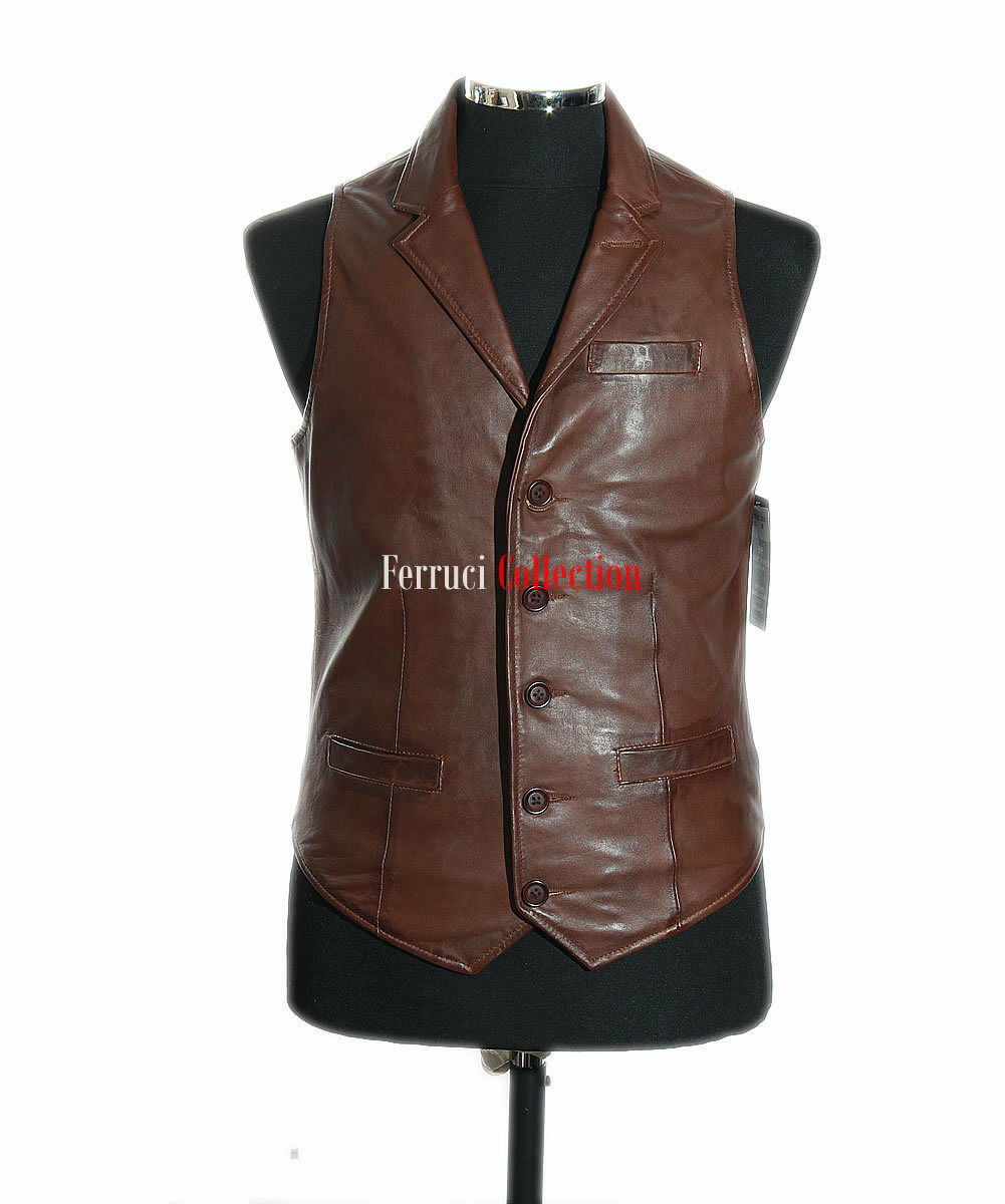 Men's Brown Collared Real Lambskin Leather Waistcoat 'WAREHOUSE CLEARANCE SALE'