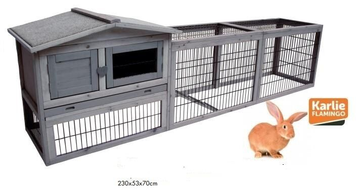 Conigliera pollaio gabbia per lepri ,polli ,roditori con recinto L 230cm