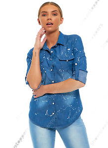 NEUF-pour-femmes-chemise-en-Jeans-peinture-bleu-classique-ajuste-T-shirt-taille