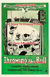 THROWING-THE-BULL-1918-Hooligan-EDUCATIONAL-CARTOON-MOVIE-POSTER-10Sizes-17-034-5FT