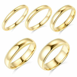 10K-Yellow-Gold-2mm-3mm-4mm-5mm-6mm-Comfort-Fit-Men-Women-Milgrain-Wedding-Band