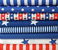 ROYAL BLUE white RED STARS STRIPES SPOTS 100% COTTON FABRIC for crafts bunting