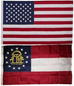 North Carolina and USA Flag 3x5 EMBROIDERED 2 double sided Flag Wholesale Lot