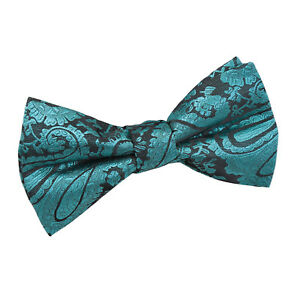 DQT-Woven-Floral-Paisley-Teal-Communion-Page-Boys-Pre-Tied-Bow-Tie