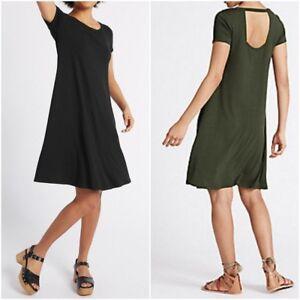 NEW-Ex-M-amp-S-BLACK-KHAKI-Fit-and-Flare-Dress-Window-Back-Summer-Dress-Size-6-22