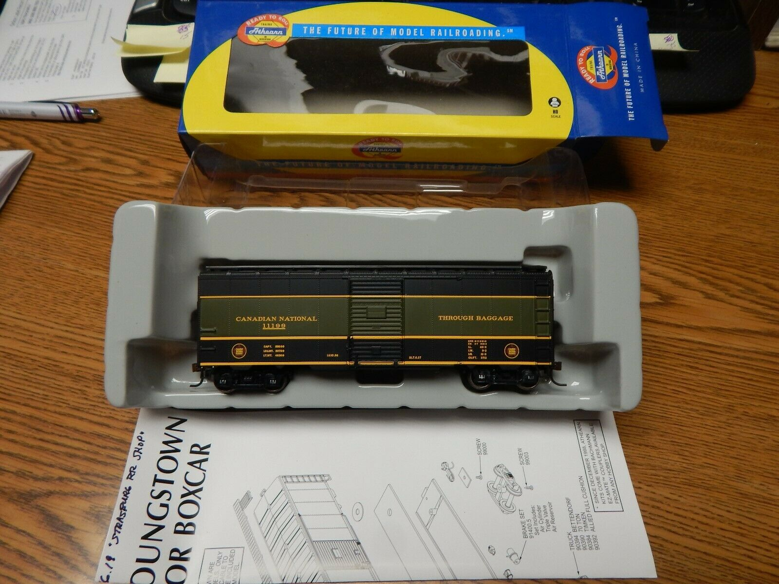 ATHEARN 92299 CANADIAN NATIONAL 40' YOUNGSTOWN STEEL DOOR BOX CAR NIB HO SCALE