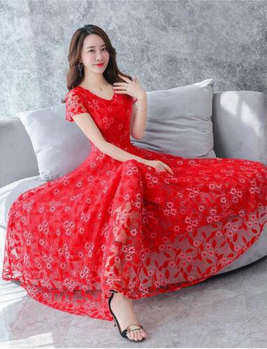Vestido de boda verano mujeres encaje una línea imperio cintura Túnica Fiesta formal vestido largo
