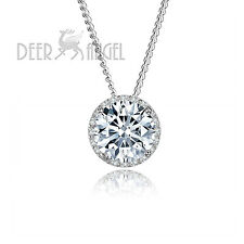 925 Sterling Silver 2.5 ct Round White Cubic Zircon Crystal CZ Pendant/Necklace
