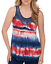 Live and Let Live Women/'s Red//White//Blue Tie Dyed Crotchet Neckline Tank Top NWT