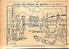 Ecole Chiens de Guerre Épouvantail Feldgrauen Pickelhaube Dessin Genty WWI 1916