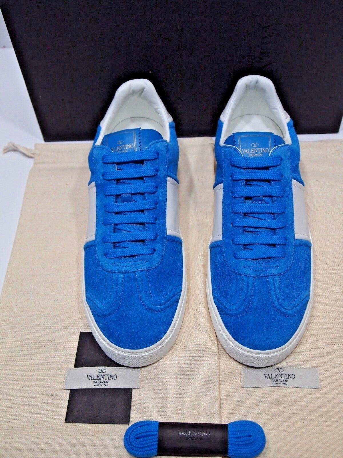 Valentino Homme Garavani Fly Crew Daim rockstud Faible-top paniers Bleu 42 9 US