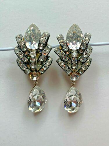Beautiful 1930's Art Deco Crystal Clip On Earrings