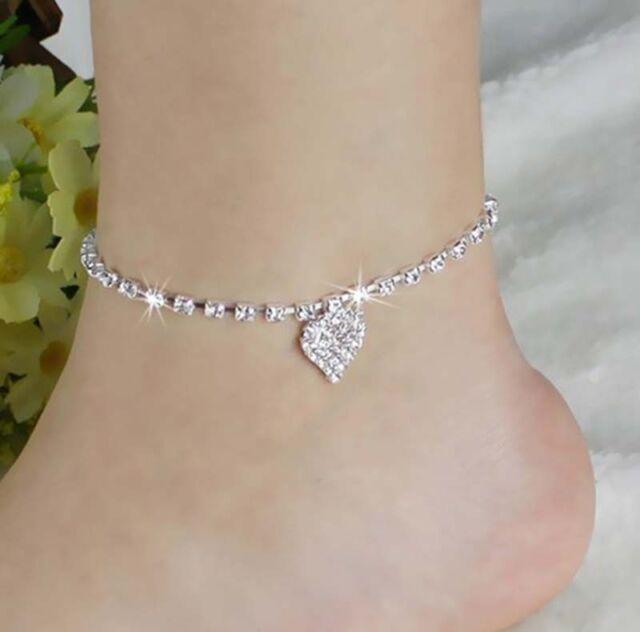 Frauen-Kristallrhinestone-Liebes-Herz-Fußkettchen-Knöchel-Armband-Kettensch WH