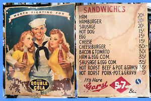 Double Cola / Cafe Menu advertising Sign wartime
