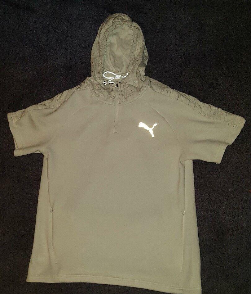 Puma Evo Stripe Weiß Short Sleeve Hoodie MEDIUM BNWOT