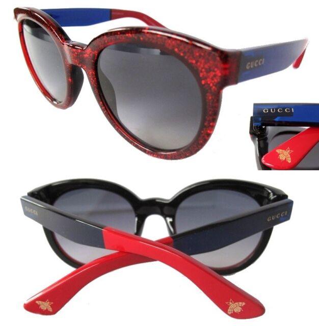 f40a41b5c6b Authentic Gucci Soft Cat Sunglasses Blue Red Glitter Gray Gradient Lens 53mm