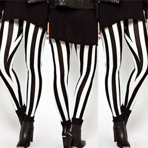 WOMENS-BLACK-AND-WHITE-FULL-LENGTH-LADIES-SKINNY-STRIPPED-STRETCH-LEGGINGS-PANTS