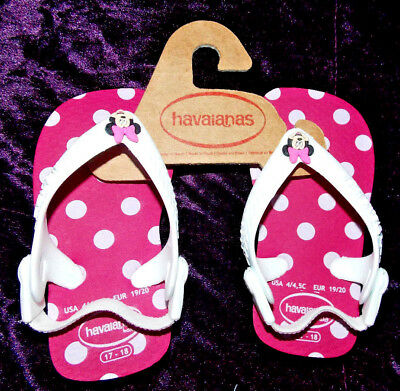 Eu 19/20 Baby Havaianas Adroit Disney Minnie Mouse Boxed Pink Spotted Flip-flops