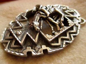 large-Vintage-Southwestern-Cowboy-Diamond-Cut-Pewter-Belt-3D-Buckle-EJC-1995