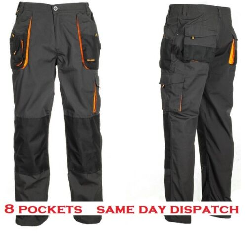 knee pockets Strong Heavy Duty Cargo Work Trousers Graphite Grey Black 8