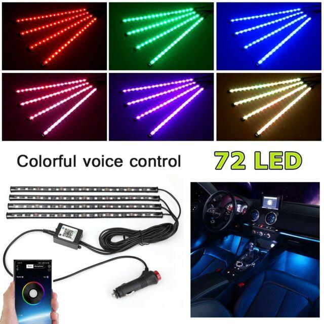 4PCS 72 LED Car Interior Atmosphere RGB Lights Strip Music Phone BT APP Control