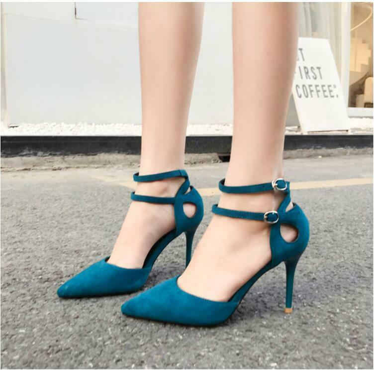 Womens Spring Summer Solid Stiletto Heels Pointy Toe Ankle Strap Pumps shoes Hot