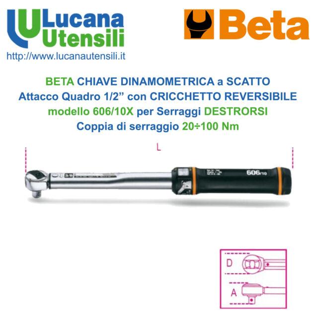 """BETA CHIAVE DINAMOMETRICA 606/10X CRICCHETTO SCATTO REVERSIBILE 20-100Nm Q1/2"""""""